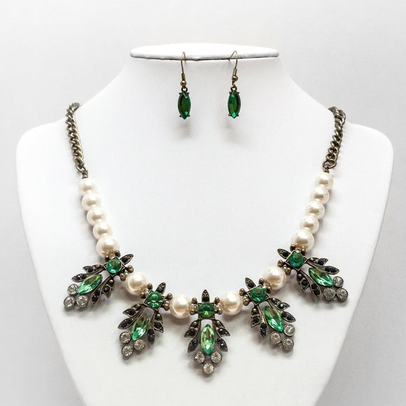 Pearl & Gem Ornament Necklace and Earring Set