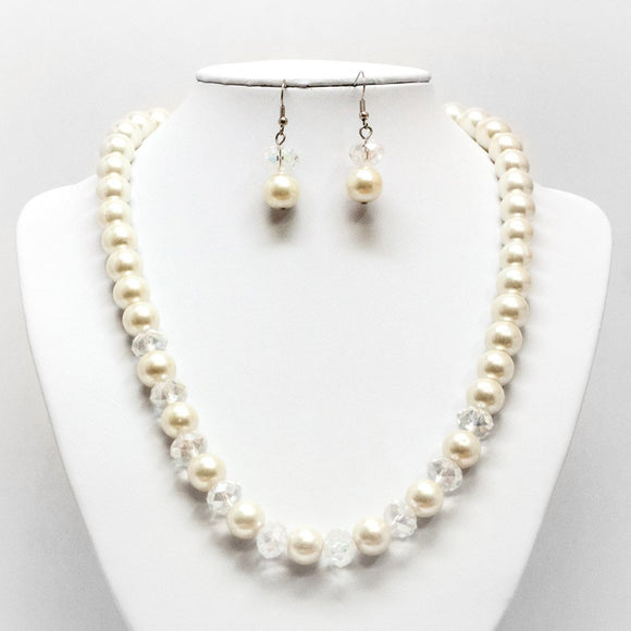 Pearl & Gem Necklace and Earring Set