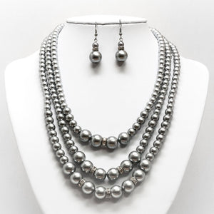 Tri-Layer Pearl Necklace and Earring Set