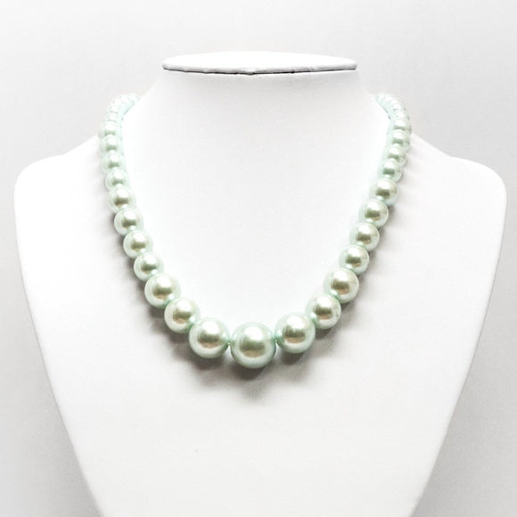 Single Strand Mint Green Pearl Necklace