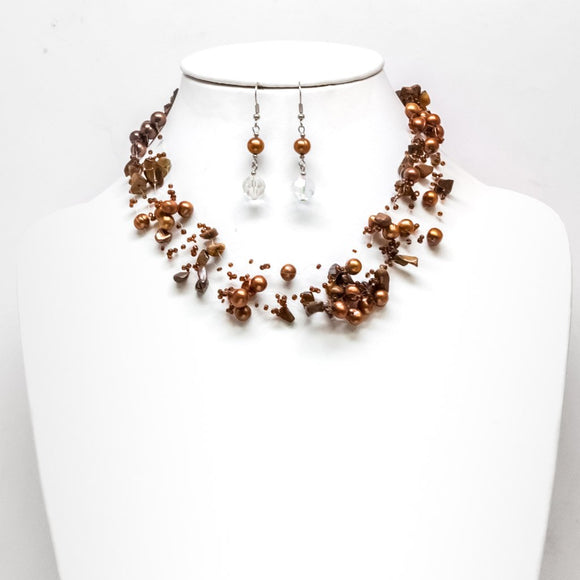 Pearl Orbit Necklace and Earring Set 2