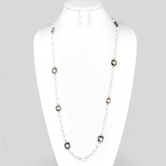 Pearl and Grey Rhinestone Long Necklace