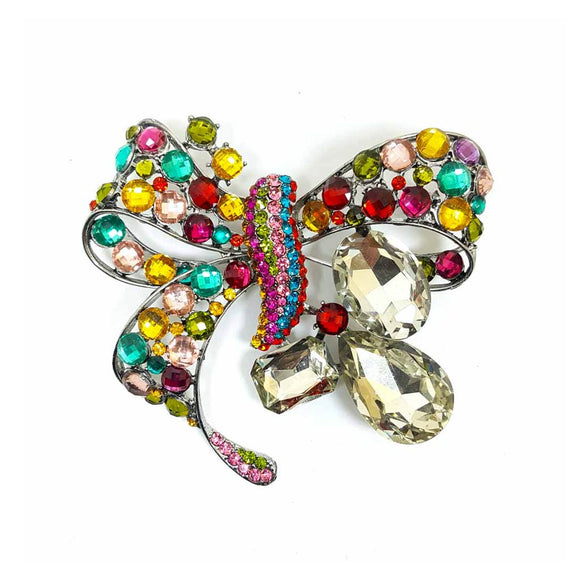 Ribbon Shape Rhinestone Brooch
