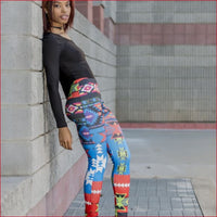 Blue Abstract Chevron Tribal Print Graphic Leggings