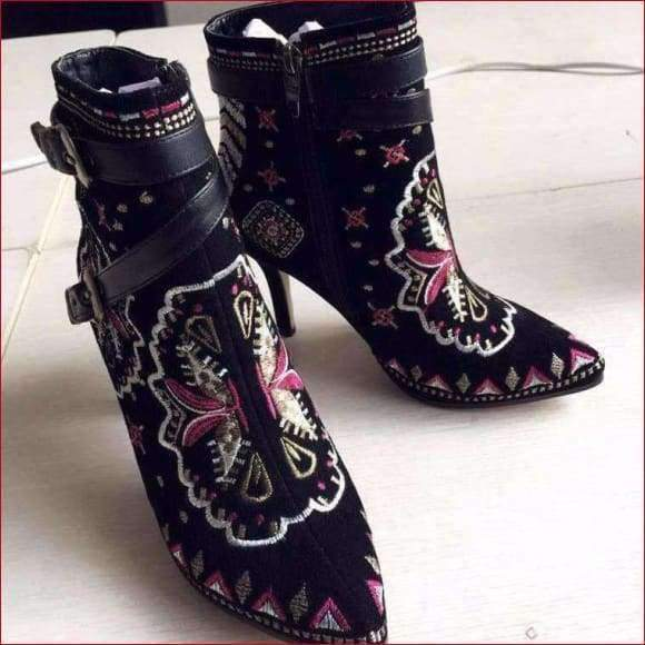 BONJOMARISA Retro Ethnic Genuine Leather Embroidery High Heels Ankle Boots.