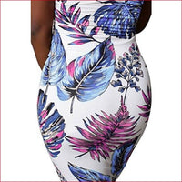 Deloreva Women Sexy Tropical Summer Dress Strapless Floral Midi Tube Bodycon Party Clubwear Blue XL