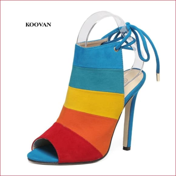 Koovan Women High-heeled Rainbow Color Mixed with Fish Mouth Pumps.