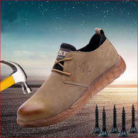 Men Breathable Cow Suede Leather Steel Toe Work shoes.