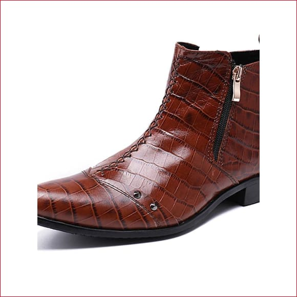 Men Fashion Leather side zippered  Ankle Boots.