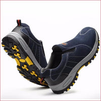 Men Steel Toe Breathable Slip On Casual work shoes.