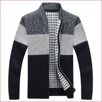 Men warm Cardigan Gradient knitted Zipper Coat.