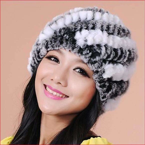 Winter Warm Women Knitted Real Rex Rabbit Fur Hat.
