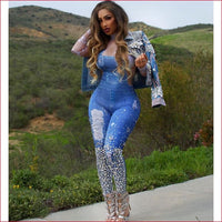 Women Fashion Sexy Plus Size Print Jeans Jumpsuit.