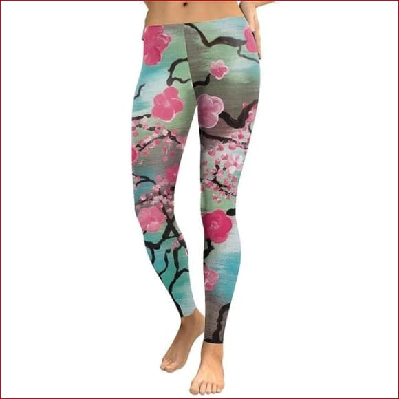 Women Pink Plum Blossom Digital Print Fitness Legging.