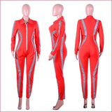 Women Reflective Striped Sexy Jumpsuits .