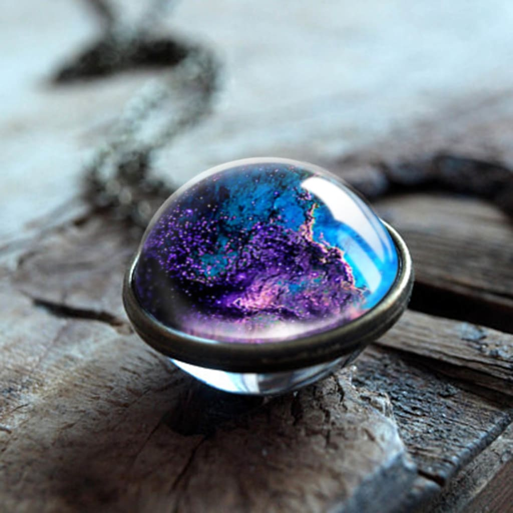 Nebula Galaxy Double Sided Universe Planet Glass Art Picture Handmade Statement Necklace