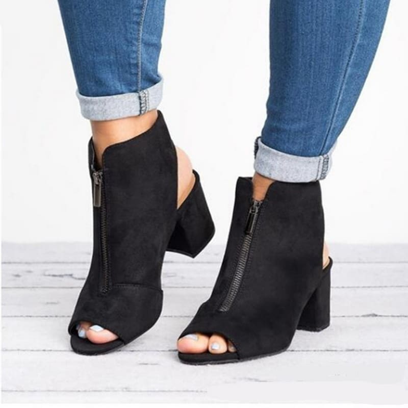 Women Faux Suede Leather Peep Toe Zipper Square toe ankle boots.