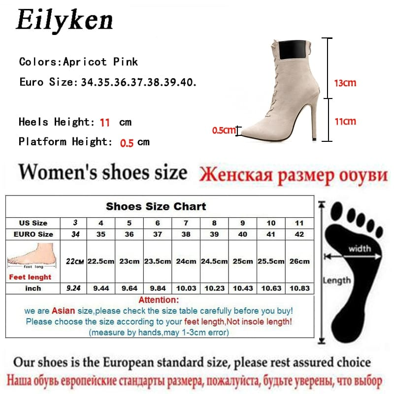 Women High Heels Pointed Toe Cross Tied ankle boots.