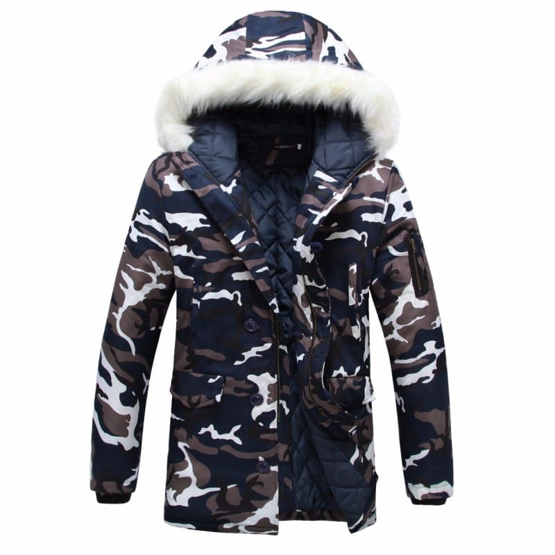 Camouflage Men Hooded Fur Collar Winter Down Overcoat.