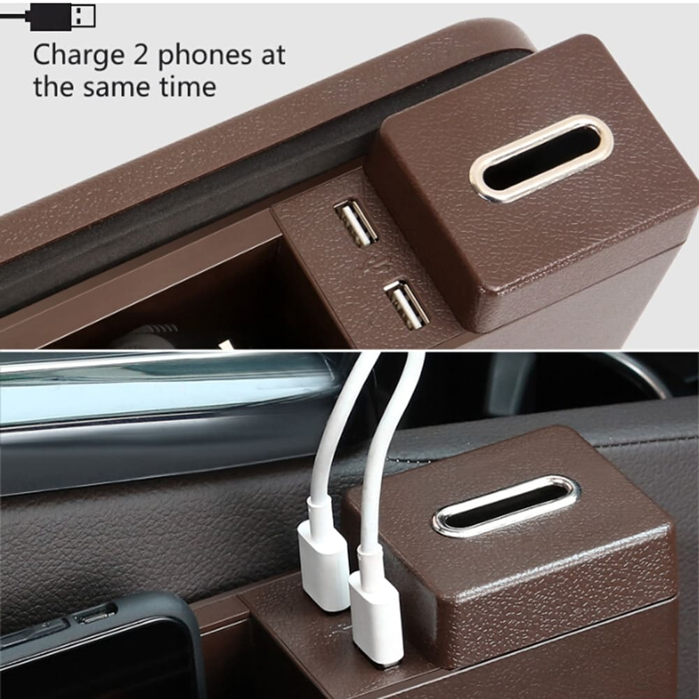 Multi-functional Car Seat Gap Storage Box 2 USB Wireless Charger.