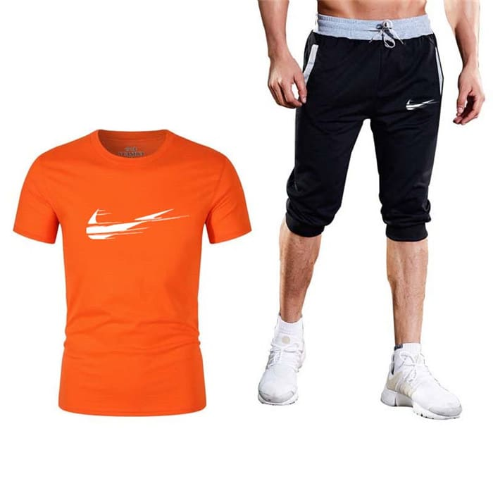 Summer Mens T Shirts+short pants Two Pieces Sets.