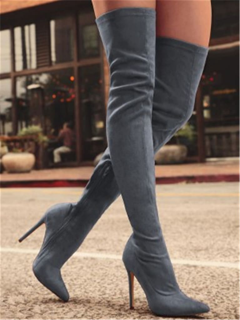 women over the knee thin heels sexy party boot.