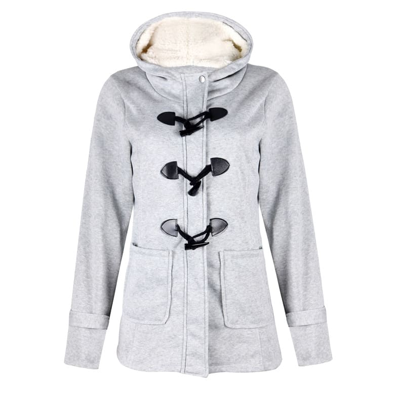Long Sleeve Velvet fall Winter women Hooded Button Warm Coat.
