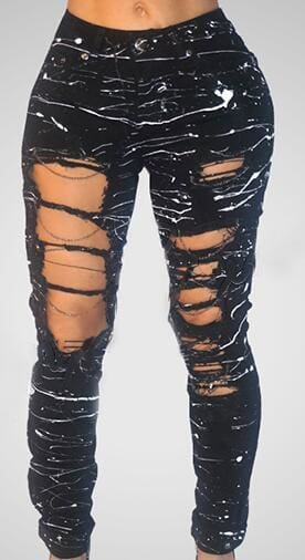 Mid-waist Hole Chain Jeans Paint Pants Skinny Destroyed Pants Hole Trousers Stretch Jeans