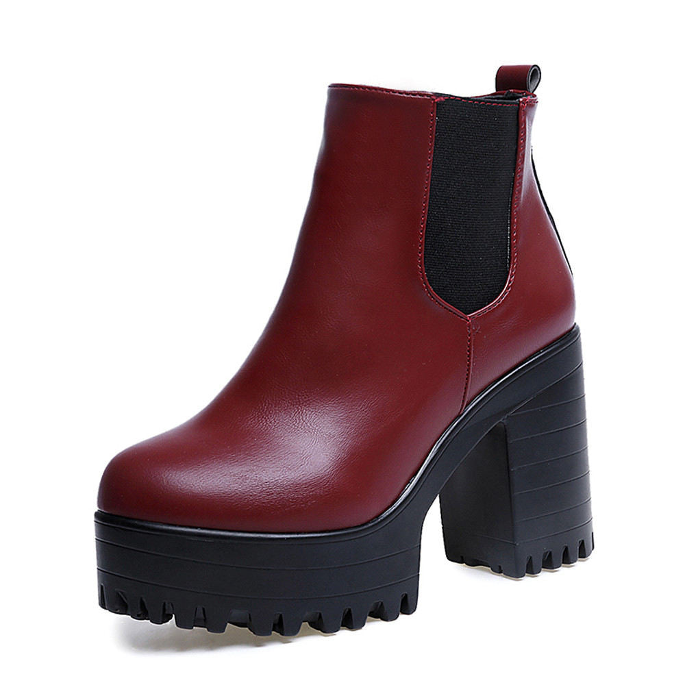 Women Sexy Gotham Square Heel Platforms Leather Ankle Boots.