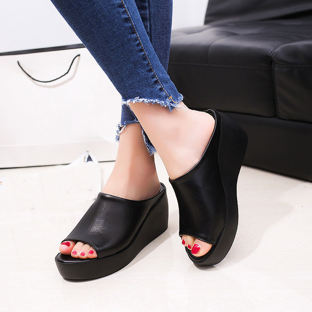 Women Summer Fashion Leisure Fish Mouth Sandals Thick Bottom Slippers