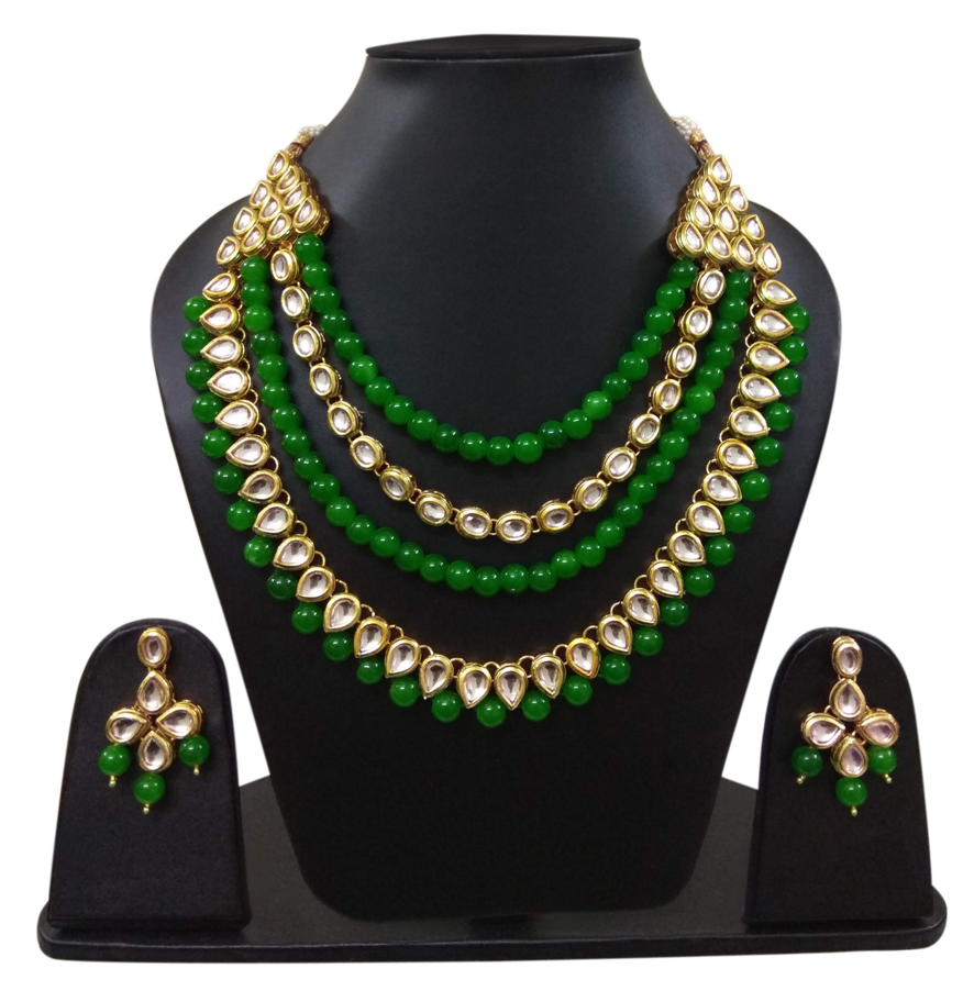 Green Beads Kundan Necklace Set