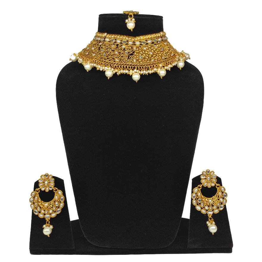White Beads Kundan Brass Choker Necklace Set