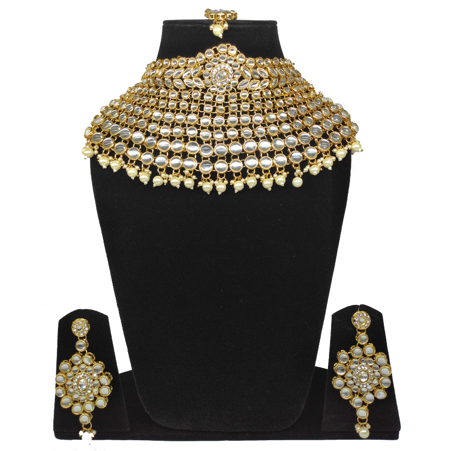 White Beads Kundan Choker Necklace Set
