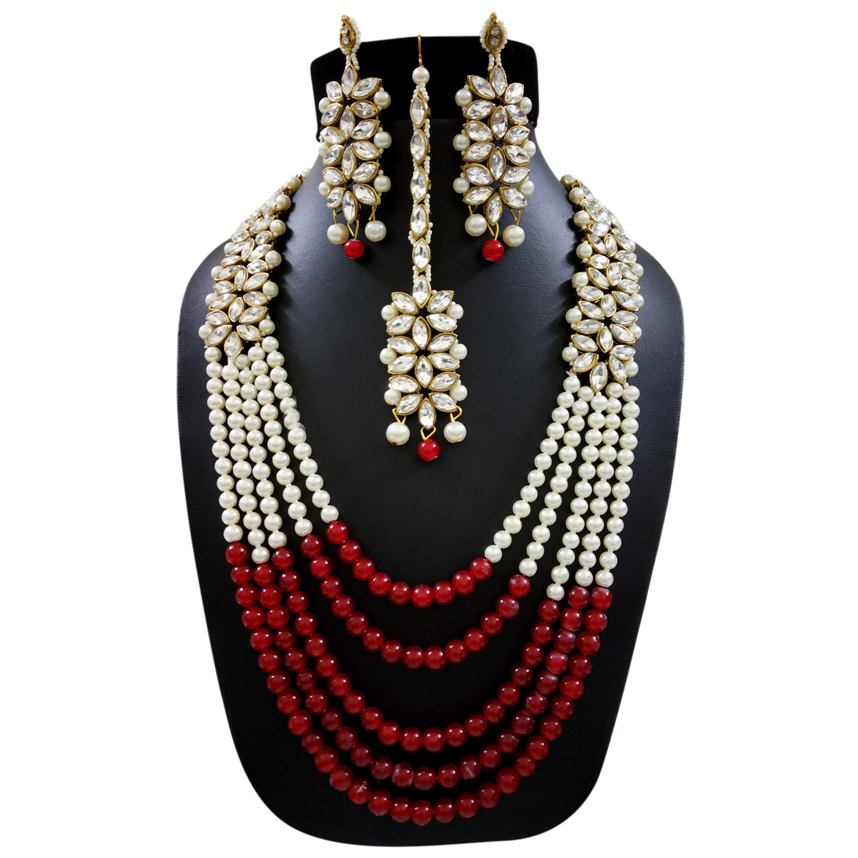 Red White Kundan Long Necklace Set