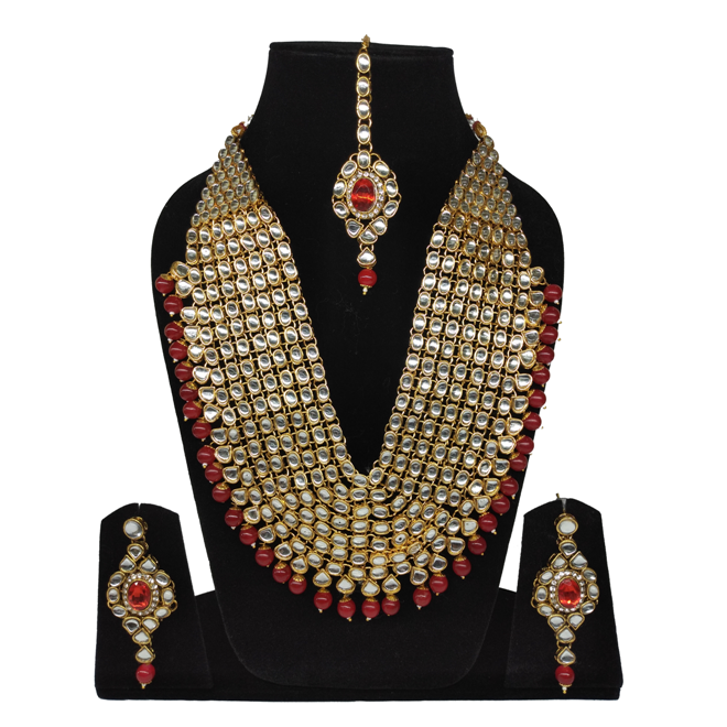 Red Beads Kundan Necklace Set