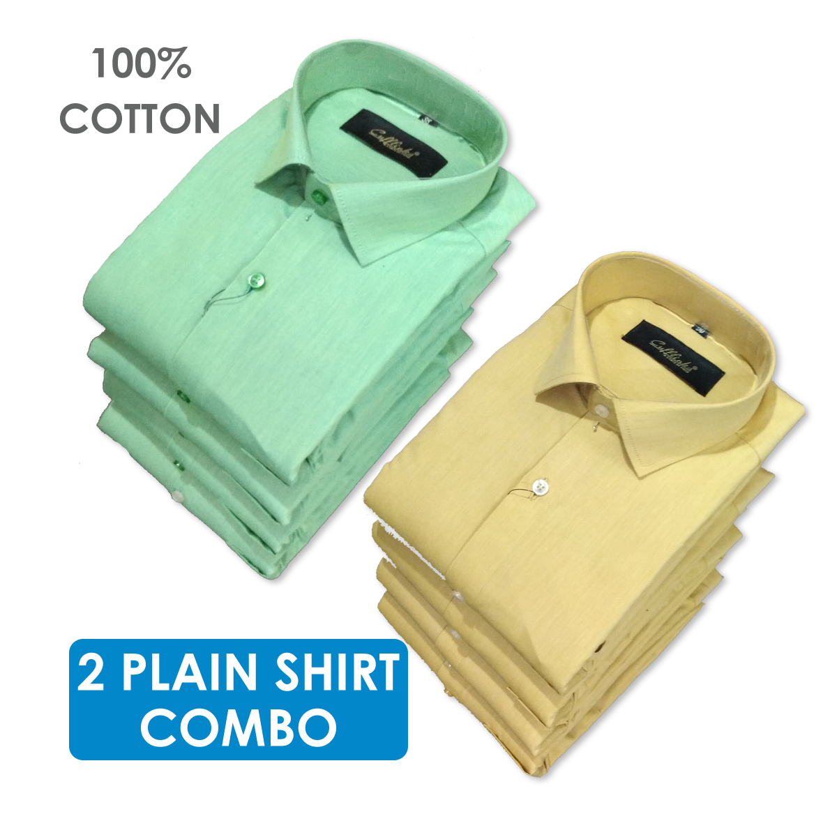 Men's Modern Fit Plain Casual Shirt - 2 Pieces Combo