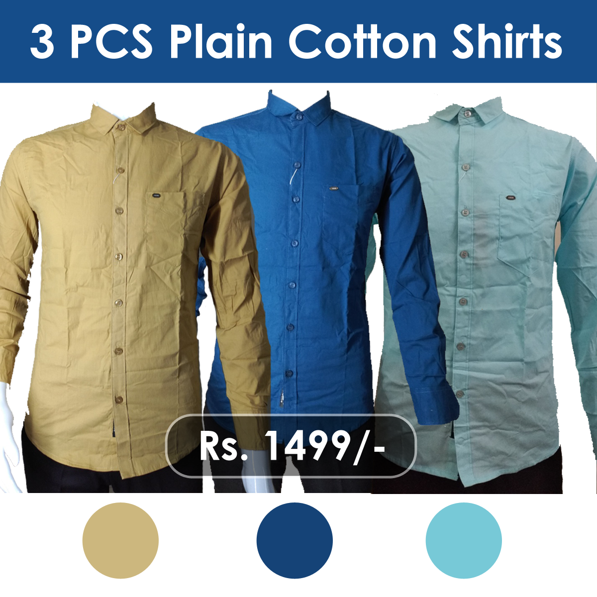 Men's Regular Slim Fit Plain Shirt - 3 Pieces Combo