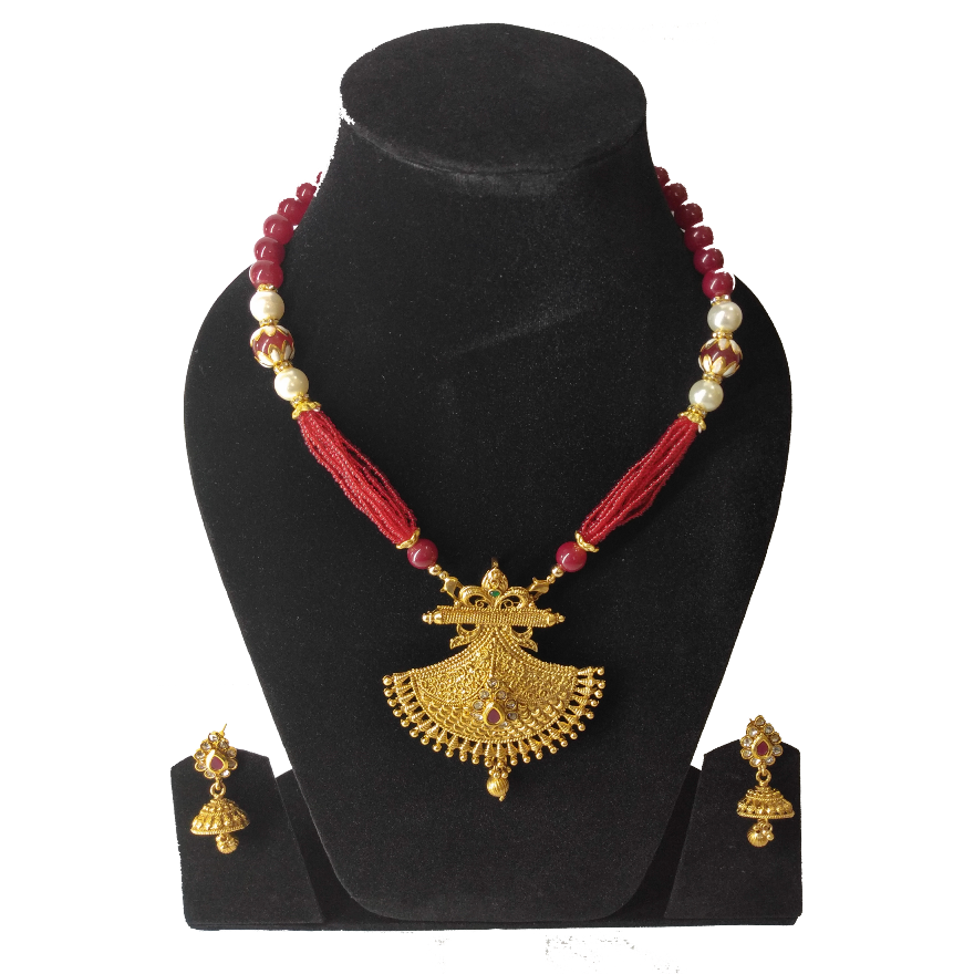 Red Beads Brass Necklace Set