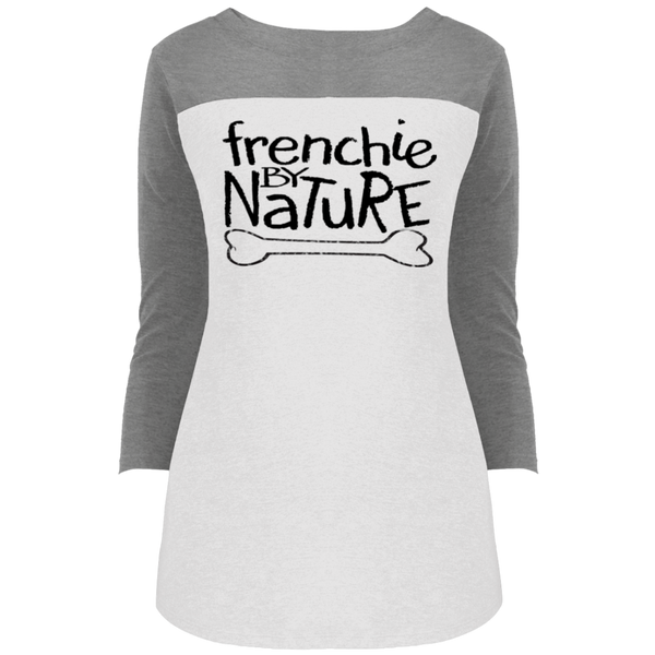 Frenchie by Nature Womens Rally 3/4 Sleeve T-Shirt - Women's Tees I Love Frenchie Bulldogs