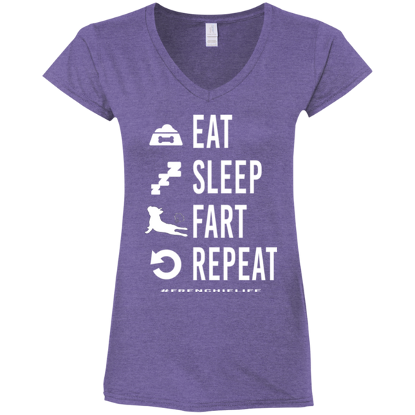 French Bulldog Eat Sleep Fart Repeat Womens Fit V-Neck T-Shirt - Women's Tees I Love Frenchie Bulldogs