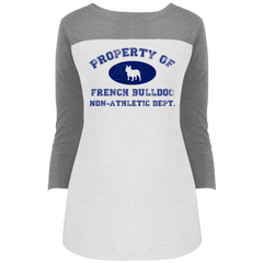 French Bulldog Non-Athletic Dept. Womens Rally 3/4 Sleeve T-Shirt - Women's Tees I Love Frenchie Bulldogs