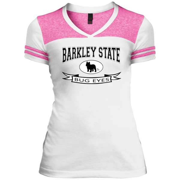 Barkley State Bug Eyes Womens Varsity V-Neck T-Shirt - Women's Tees I Love Frenchie Bulldogs
