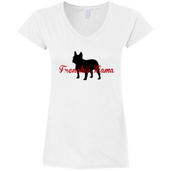 Frenchie Mama Womens Fit V-Neck T-Shirt - Women's Tees I Love Frenchie Bulldogs