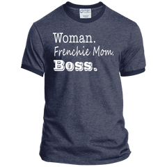 Woman Frenchie Mom Boss  Ringer Tee - Women's Tees I Love Frenchie Bulldogs