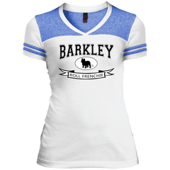 Barkley Roll Frenchie Womens Varsity V-Neck T-Shirt - Women's Tees I Love Frenchie Bulldogs