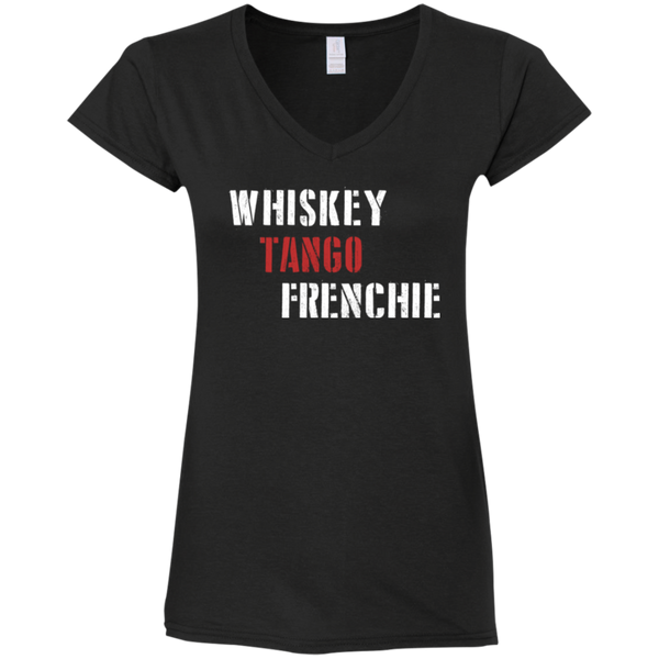 Whiskey Tango Frenchie Womens Fit V-Neck T-Shirt - Women's Tees I Love Frenchie Bulldogs