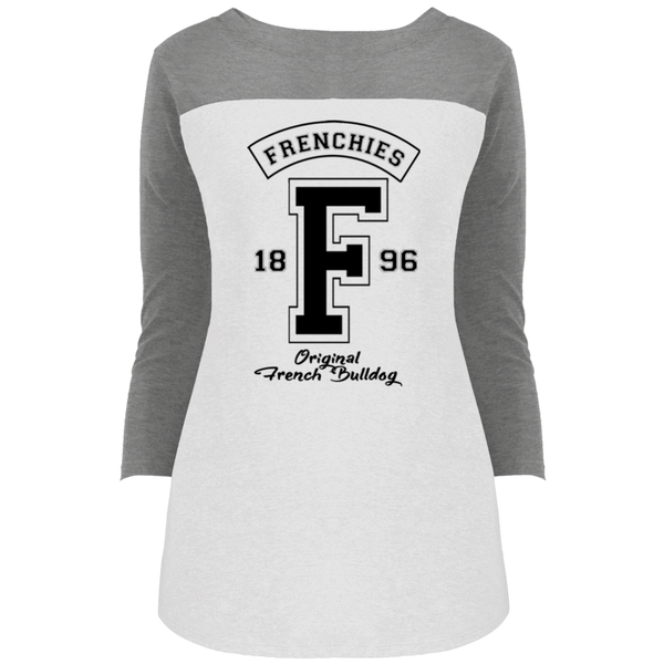 Frenchies Est 1896 Womens Rally 3/4 Sleeve T-Shirt - Women's Tees I Love Frenchie Bulldogs
