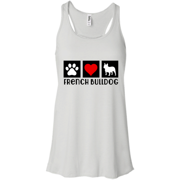 Heart French Womens Flowy Racerback Tank - Women's Tanks I Love Frenchie Bulldogs