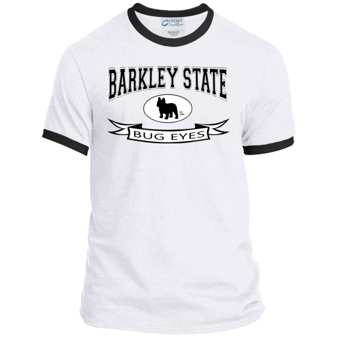 Barkley State Bug Eyes Ringer Tee - Men's T-Shirts I Love Frenchie Bulldogs