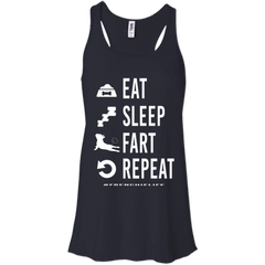 French Bulldog Eat Sleep Fart Repeat Womens Flowy Racerback Tank - Women's Tanks I Love Frenchie Bulldogs